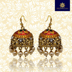 Kundan Meenakari Hanging Jhumki Dome Shape Earrings Orange Golden