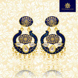 Kundan Meenakari Chandbali Dangler Earrings Blue