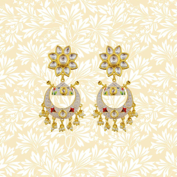 Handpainted Kundan Top Bali Jhumki Earrings Flower Design White