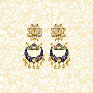 Handpainted Kundan Top Bali Jhumki Earrings Flower Design Blue