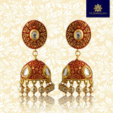 Mate Kundan Meena Jhumki Earrings Maroon