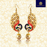 Kundan Meenakari Peacock Bali Dangler Earrings Pink Blue