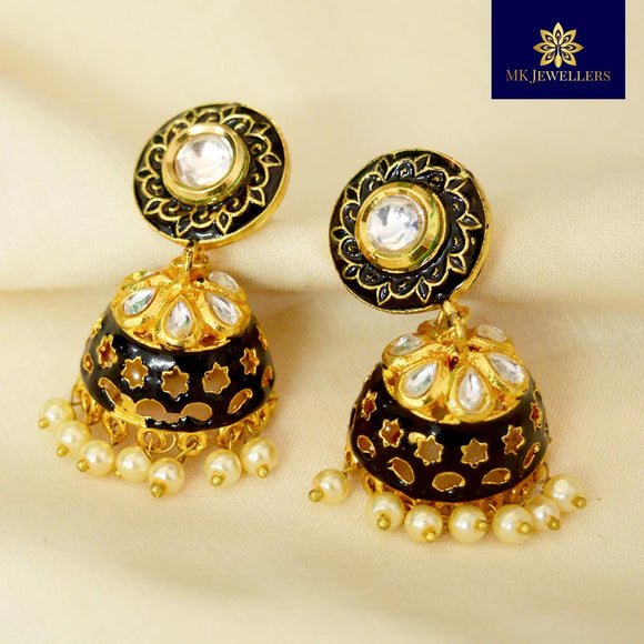Kundan Meena Jhumki Earrings Black