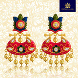 Kundan Meena Bali Dangler Earrings Leaf Design Rani Pink