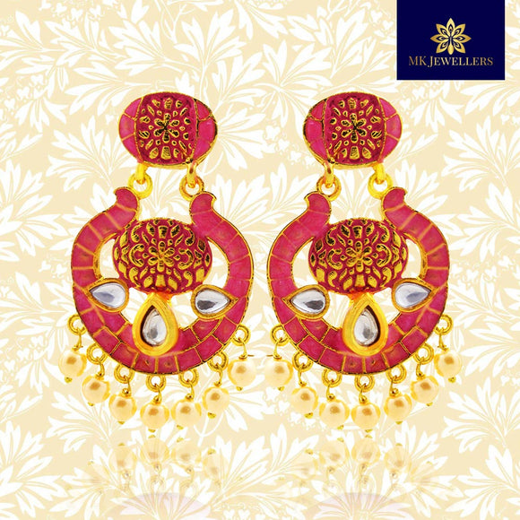 Kundan Meenakari Bali Dangler Earrings Pearl Maroon