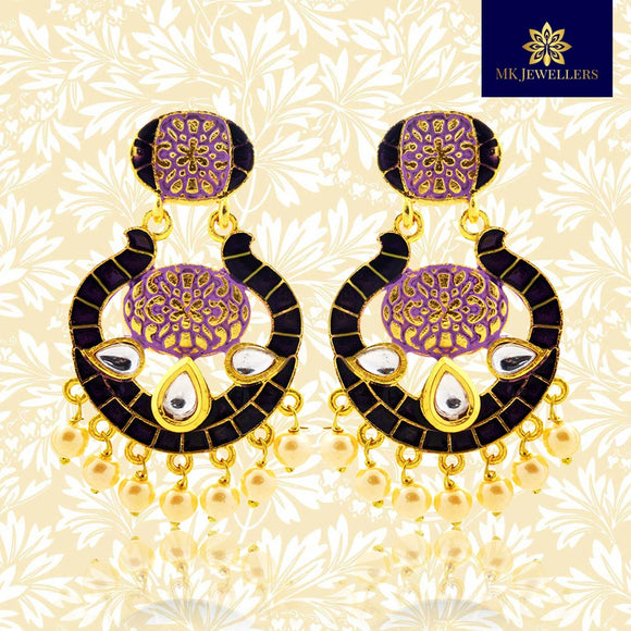 Kundan Meenakari Bali Dangler Earrings Black Purple