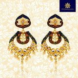 Kundan Meenakari Bali Dangler Earrings Red Black
