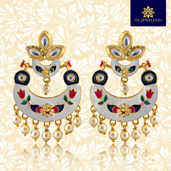 Kundan Meenakari Bali Dangler Gold Plated Earrings White
