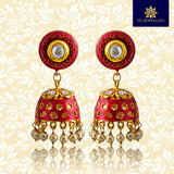 Kundan Meena Jhumki Earrings Dark Pink