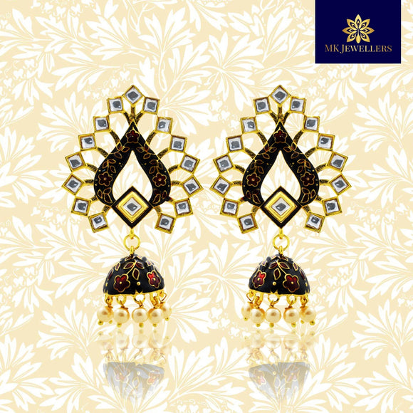 Trendy Kundan Meenakari Jhumki Earrings Black Color