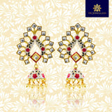 Trendy Kundan Meenakari Jhumki Earrings White