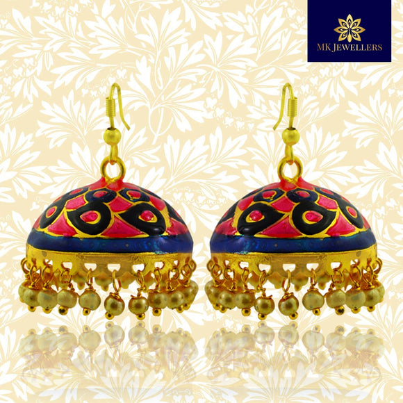 Kundan Meenakari Dome Jhumki Earrings for Girls Pink