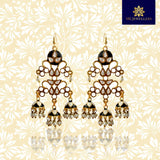 Kundan Meena Bali Jhumki Triple Dome Earring Black White