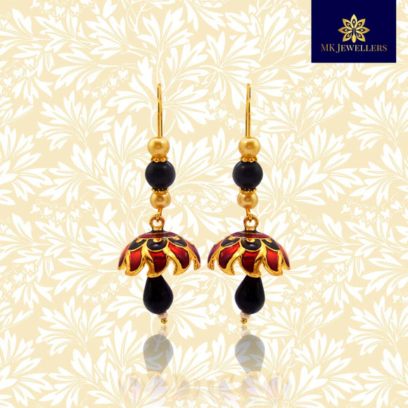 Kundan Meena Jhumki Earrings Pearl String Design Maroon