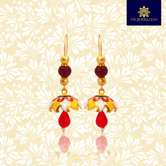 Kundan Meena Jhumki Earrings Pearl String Design Yellow