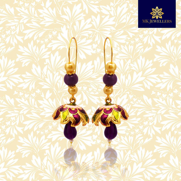 Kundan Meena Jhumki Earrings Pearl String Design Purple Mehandi