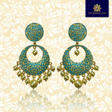 Kundan Meenakari Bali Circular Shape Earrings Mint Green