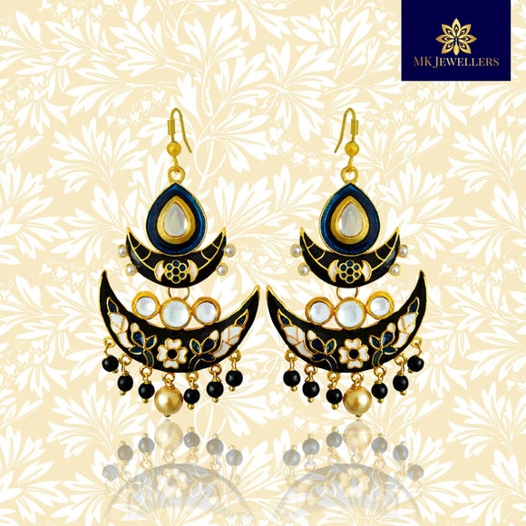 Kundan Meenakari Chandbali Double Layer Earrings Black