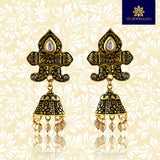 Kundan Mate Meena Jhumki Earrings Black