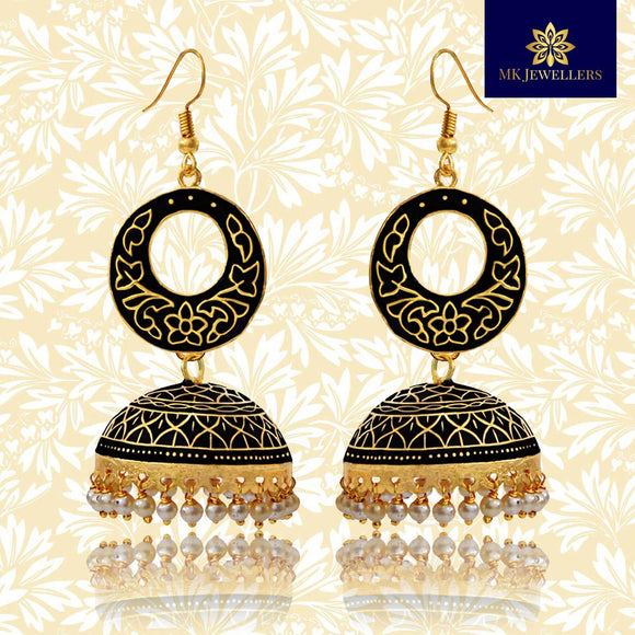 Kundan Meenakari Bali Jhumki Earrings Black