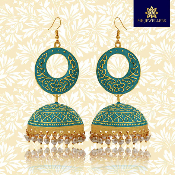 Kundan Meenakari Bali Jhumki Earrings Sky Blue