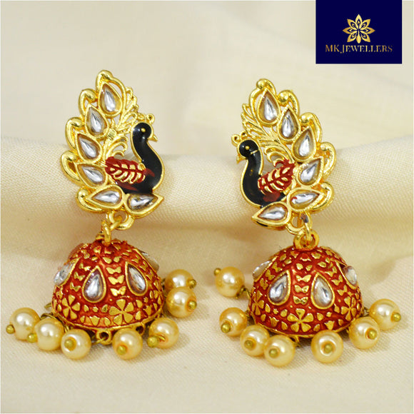 Kundan Mate Meena Jhumki Peacock Pattern Red Black