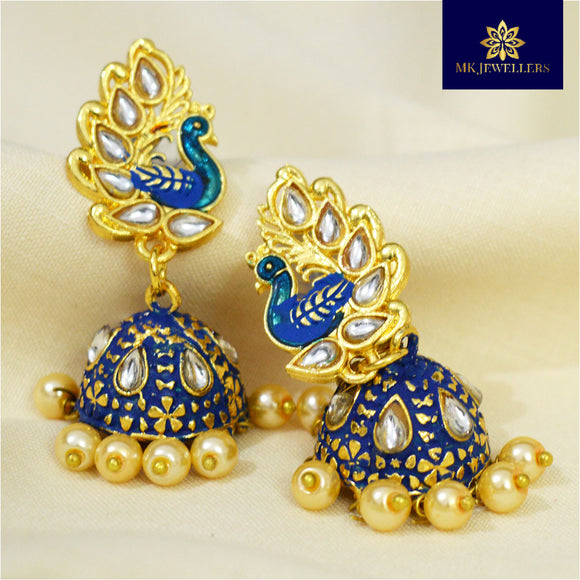 Kundan Mate Meena Jhumki Peacock Pattern Blue Green