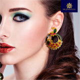Kundan Meenakari Bali Earrings Peacock Shape Yellow Green