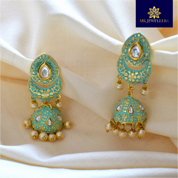 Kundan Mate Meena Jhumki Earrings for Women Mint Green