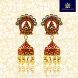 Kundan Mate Jhumki Earrings Triangular Pattern Maroon