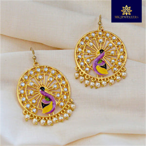 Kundan Meenakari Bali Earrings Peacock Design Purple