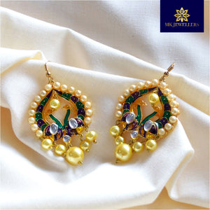 Kundan Meenakari Pearl Bali Dangler Earrings Two Peacock Purple Green