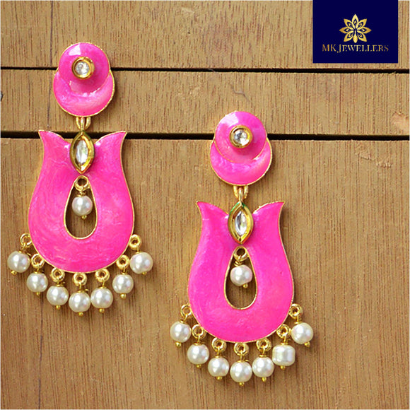 Kundan Meenakari Pearl Bali Dangler Earrings Rani