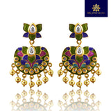 Kundan Meenakari Chandbali Dangler Lotus Shape Earrings Green Pink