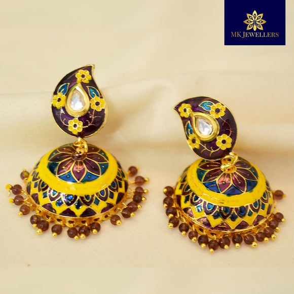 Kundan Meenakari Jhumki Earrings Leaf Pattern Purple Golden