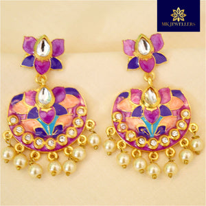 Kundan Meenakari Chandbali Dangler Lotus Shape Earrings Orange Purple