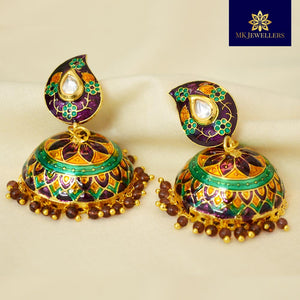Kundan Meenakari Jhumki Earrings Leaf Pattern Purple Green