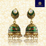 Kundan Meenakari Jhumki Earrings Flower Design Green