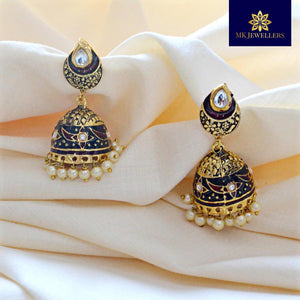 Kundan Meenakari Jhumki Earrings Flower Design Black