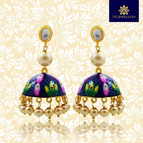 Handpainted Kundan Jhumki Pearl Earrings Blue