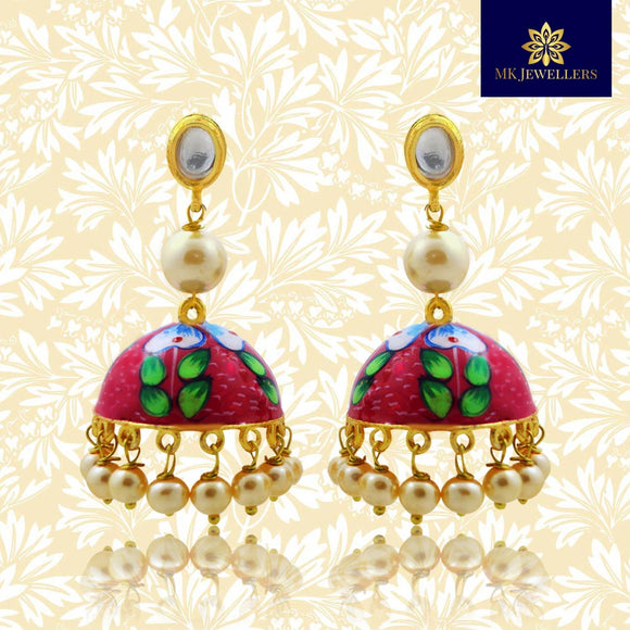 Handpainted Kundan Jhumki Pearl Earrings Pink