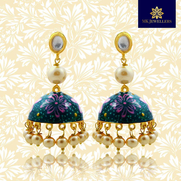 Handpainted Kundan Jhumki Pearl Earrings Dark Green