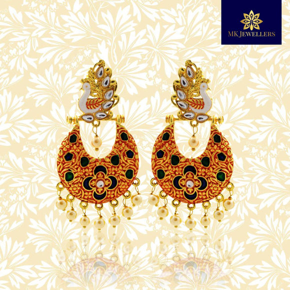 Kundan Meenakari Peacock Chandbali Earrings Orange