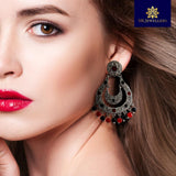 Meenakari Brass Chandbali Earrings With Red and Black Pearls
