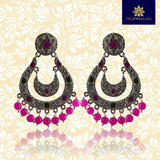 Meenakari Handcrafted Chandbali Earrings For Women Girls Pink Color