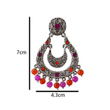 Meenakari Handcrafted Chandbali Earrings For Women Orange Pink Color