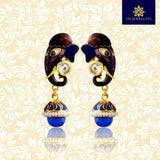 Meenakari Kundan Elephant Designer Jhumki Earrings Blue Multi