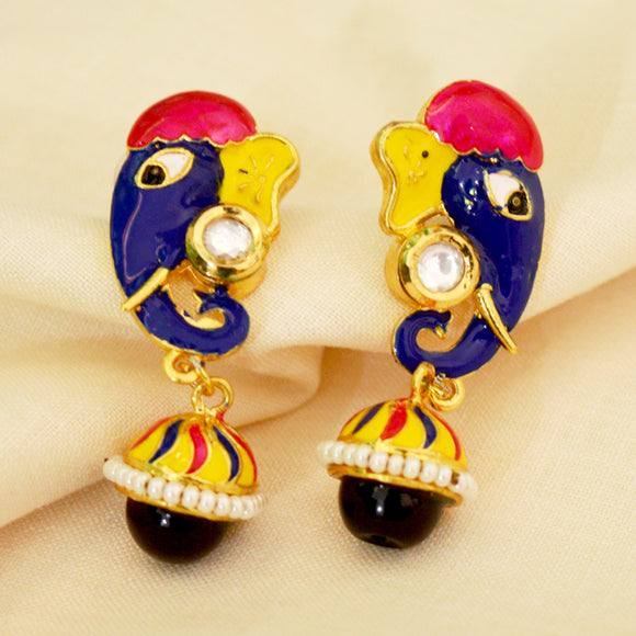 Meenakari Kundan Elephant Designer Jhumki Earrings Yellow Multi-Color