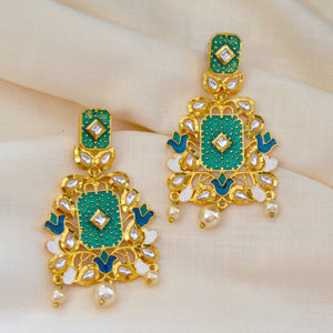 Traditional Kundan Meenakari Earrings Beautifully Enameled Rama Green Color