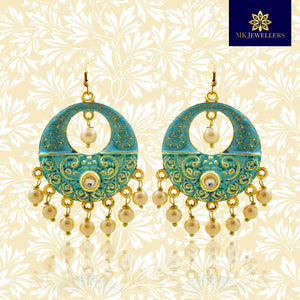 Meenakari Brass Chandbali Pearl Earrings Mint Green Color